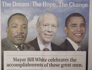 Bill White really did put himself between MLK and Obama.