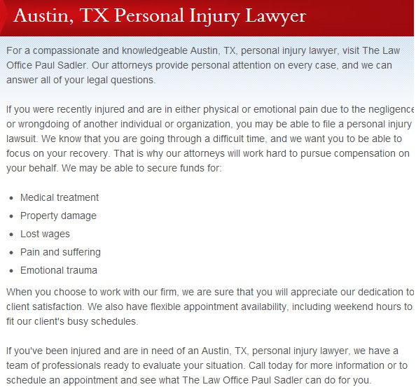 Paul Sadler personal injury
