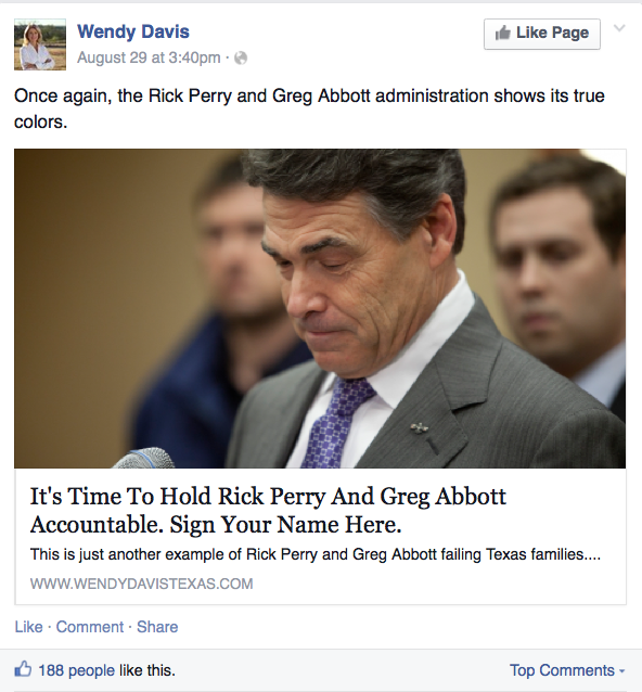 Wendy Davis Facebook ad