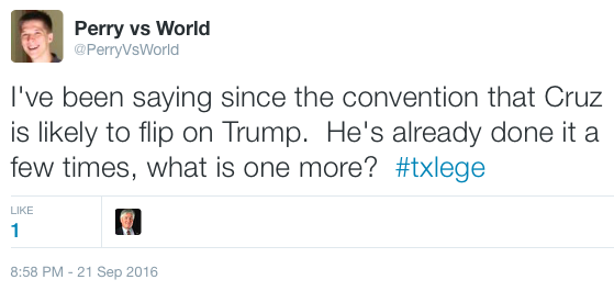 Never a doubt Cruz would flipflop